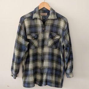 VINTAGE Express Jeans Woven Plaid Shirt Jacket